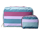 LeSportsac Extra Large Rectangular and Square Cosmetic Combo (Aberdeen Stripe) Cosmetic Case