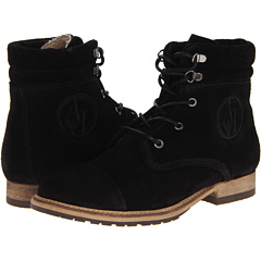 Armani Jeans Suede Lace Up Boot (Black Suede) Footwear