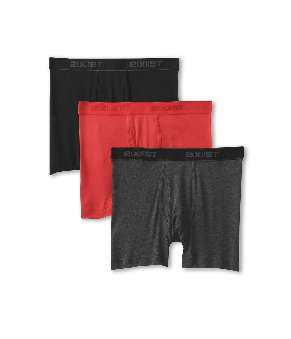 2(X)IST - 3-Pack ESSENTIAL Boxer Briefs (Black/Charcoal/Red) Men's Underwear