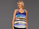 DKNY Jeans Plus Size Stripe Print Color Block Tank