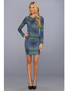 SALE! $96.99 - Save $223 on Nicole Miller Optic Herringbone L S Dress (Blue Multi) Apparel - 69.69% OFF $320.00