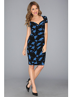 SALE! $29.99 - Save $69 on KAMALIKULTURE S S Sweetheart Side Draped Dress (Feather Flower Black Light Blue) Apparel - 69.71% OFF $99.00