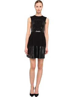 SALE! $359.99 - Save $238 on Rachel Roy Bonded Leather Embroidered Dress (Black) Apparel - 39.80% OFF $598.00