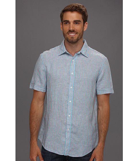 Perry Ellis - Regular Fit Linen Plain Stripe S/S Shirt (Azzuro) Men's Short Sleeve Button Up