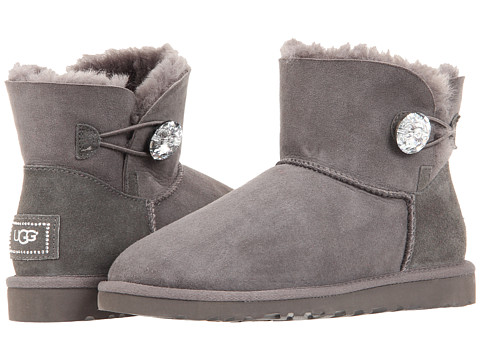 UGG - Mini Bailey Button Bling (Grey) Women's Boots