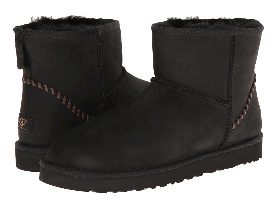 UGG - Classic Mini Deco (Black Leather) Men's Boots