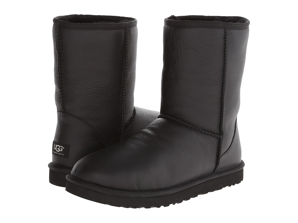 UGG Classic Short Leather (Black Leather/Sheepskin) Men