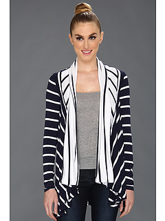 SALE! $46.99 - Save $111 on Three Dots Stripe L S Open Cardy (White) Apparel - 70.26% OFF $158.00