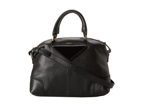 Furla Nikia Medium Satchel (Onyx) Satchel Handbags
