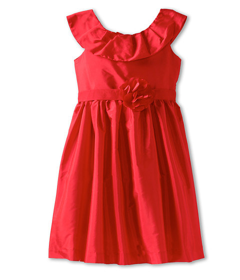Us Angels - Pleat Collar Silky Taffeta Tank Dress W/ Ribbon Belt (Infant) (Red) Girl