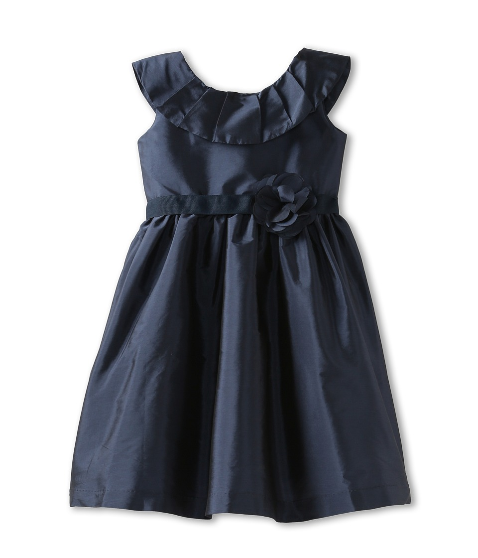 Us Angels - Pleat Collar Silky Taffeta Tank Dress W/ Ribbon Belt (Little Kids/Big Kids) (Navy) Girl's Dress