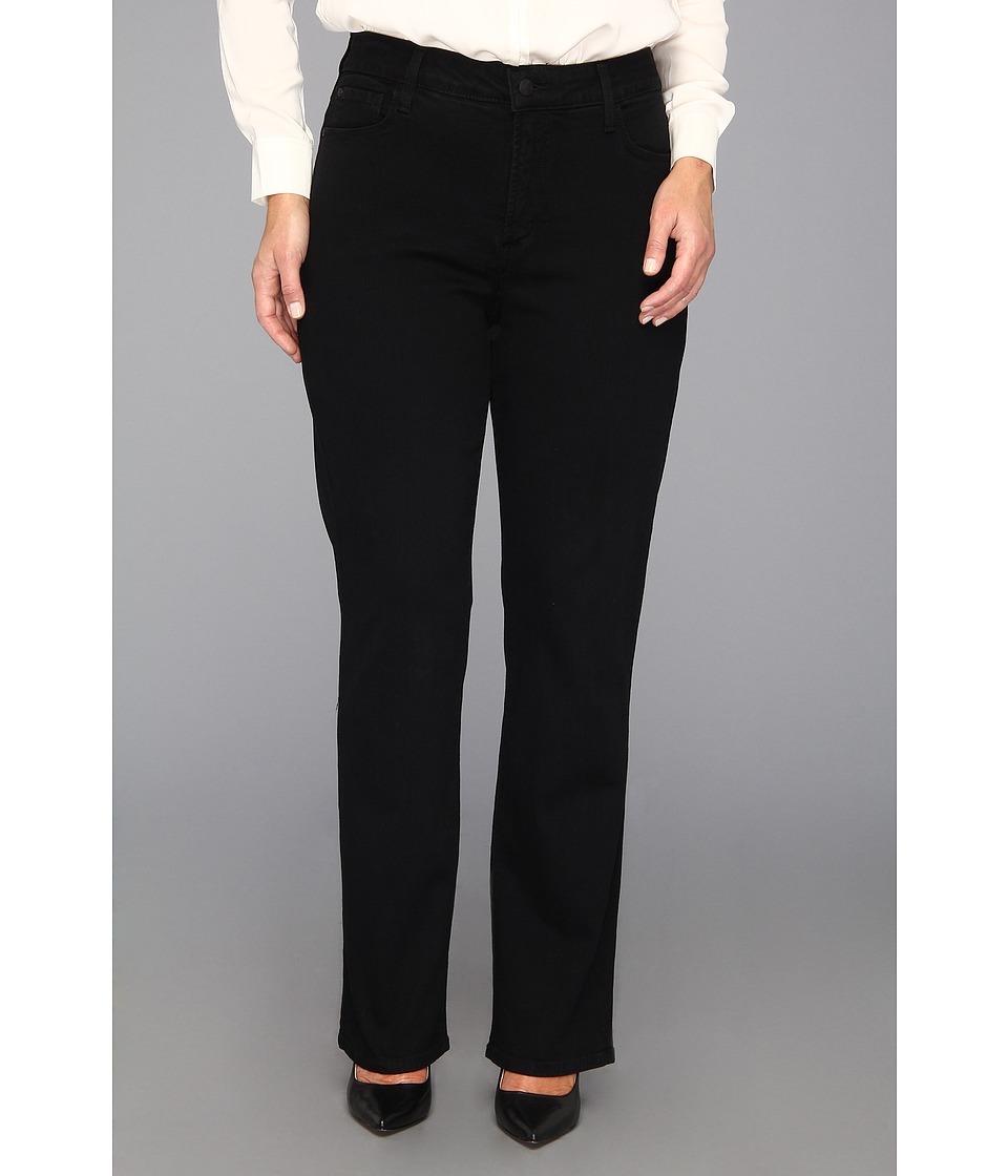 NYDJ Plus Size - Plus Size Marilyn Straight Leg w/ Embellished Pkt in Black (Black) Women's Jeans