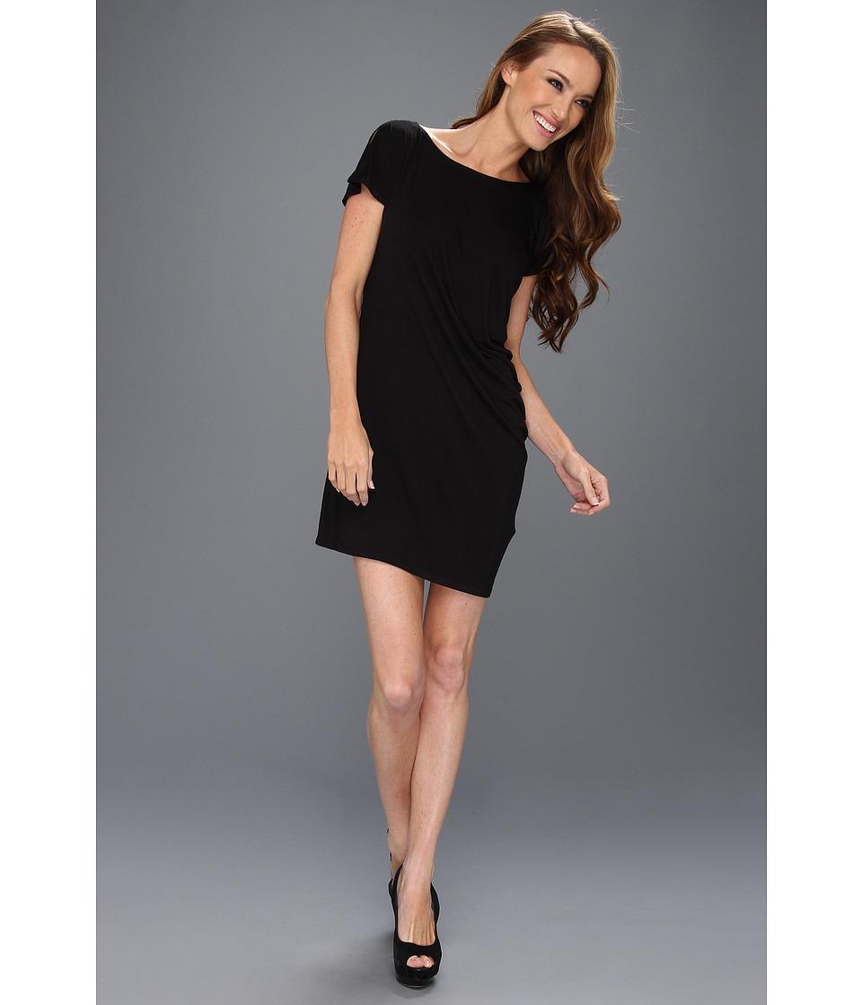 C&C California Boat Neck Drape Dress Womens Dress (Black)