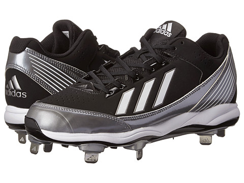 adidas - PowerAlley Metal Low (Black/Running White/Neo Iron Metallic) Men's Cleated Shoes
