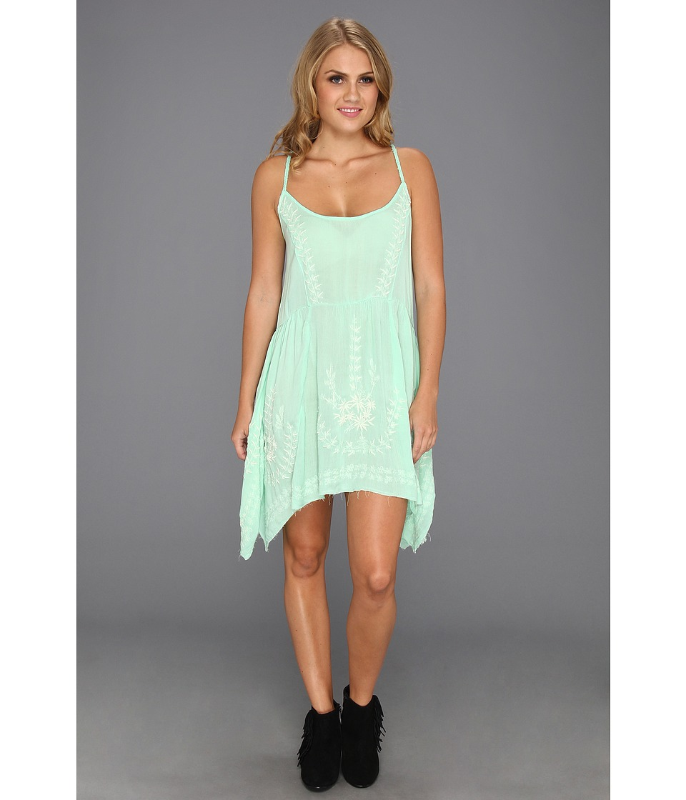 Free People - Meadows Of Medallion Slip (Seafoam) Women's Dress