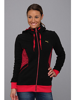 SALE! $36.99 - Save $28 on PUMA Animal Print Full Zip Hoodie (Black Lime Punch Virtual Pink) Apparel - 43.09% OFF $65.00
