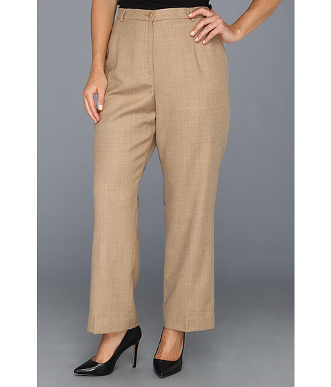 Pendleton - Plus Size Worsted Flannel True Fit Trouser (Camel Mix Worsted Flannel) Women