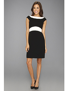 SALE! $44.99 - Save $83 on Tahari by ASL Fabian Crepe Sheath Dress (Black Ivory) Apparel - 64.85% OFF $128.00