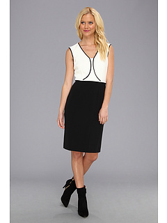 SALE! $44.99 - Save $83 on Tahari by ASL Brad Crepe Dress (Ivory Black) Apparel - 64.85% OFF $128.00