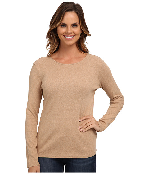 Pendleton - L/S Jewel Neck Cotton Rib Tee (Camel Heather) Women's Long Sleeve Pullover