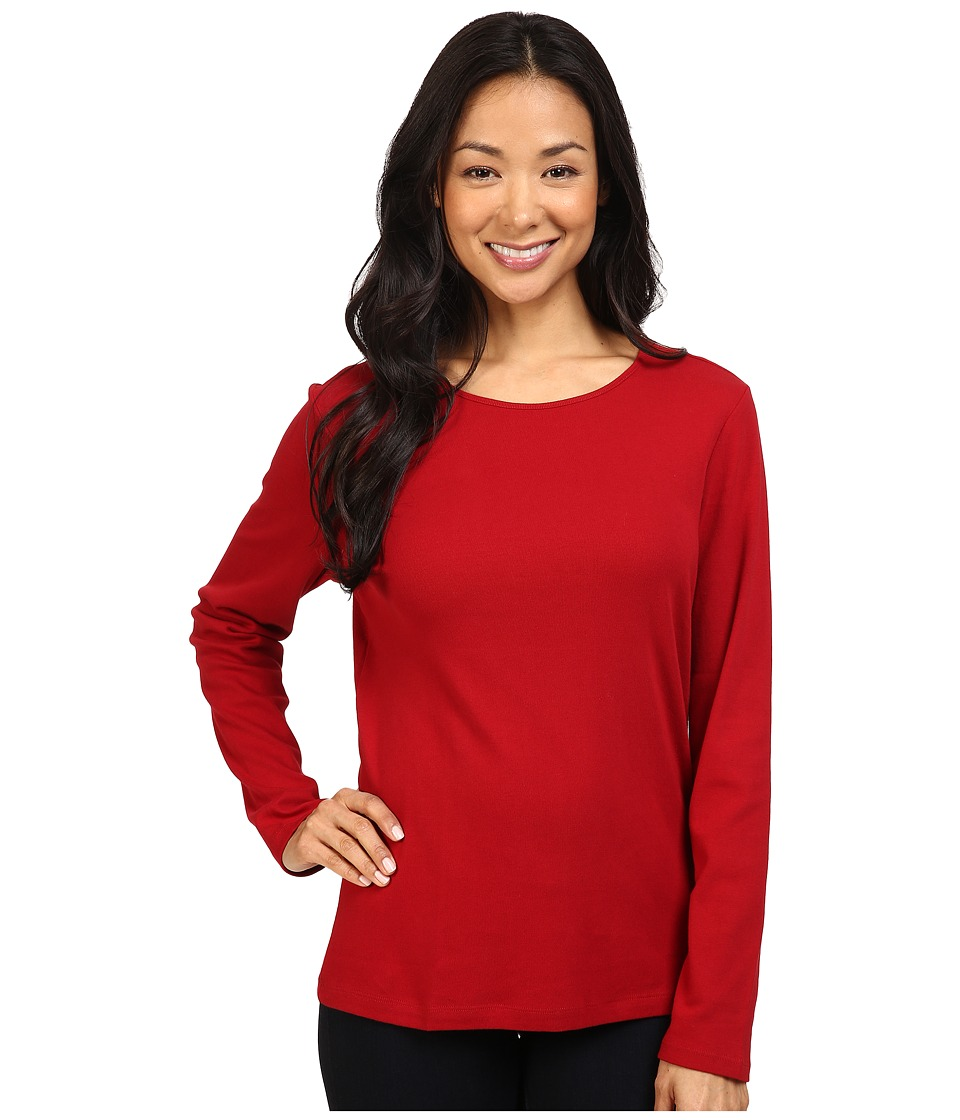 Pendleton - L/S Jewel Neck Cotton Rib Tee (Red Rock) Women's Long Sleeve Pullover
