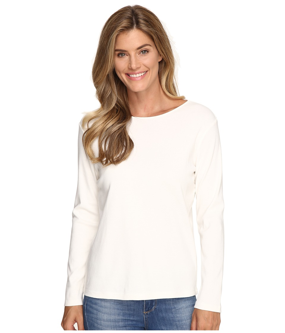 Pendleton - L/S Jewel Neck Cotton Rib Tee (Ivory) Women's Long Sleeve Pullover