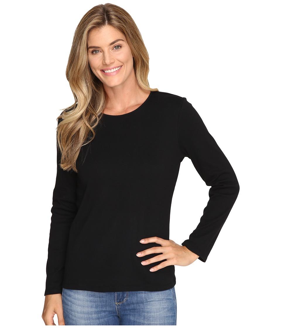 Pendleton - L/S Jewel Neck Cotton Rib Tee (Black) Women's Long Sleeve Pullover