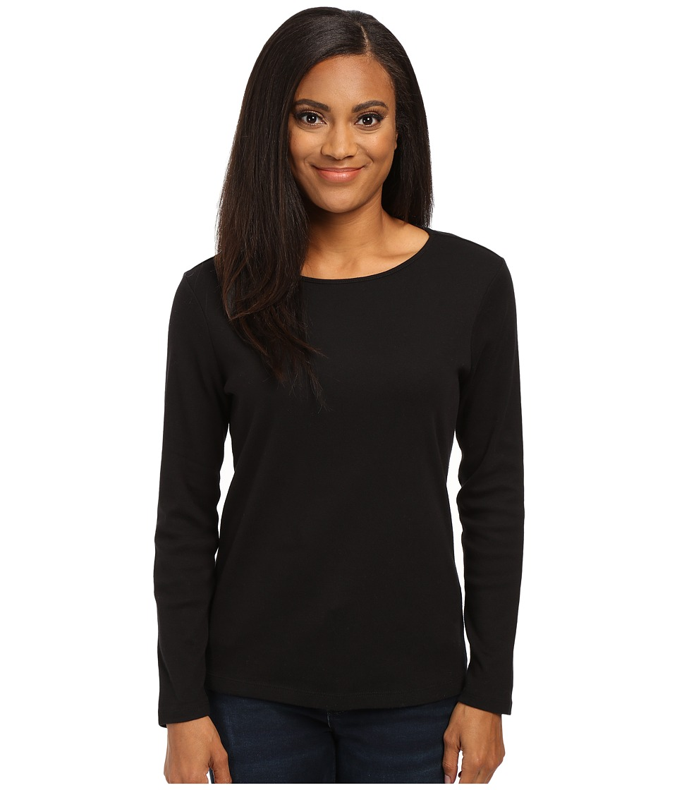 Pendleton - Petite L/S Jewel Neck Cotton Rib Tee (Black) Women's Long Sleeve Pullover