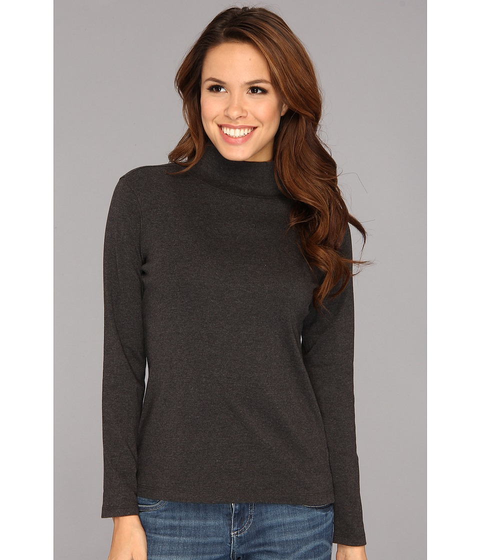 Pendleton - L/S Mock Neck Cotton Rib Tee (Charcoal Heather) Women's Long Sleeve Pullover