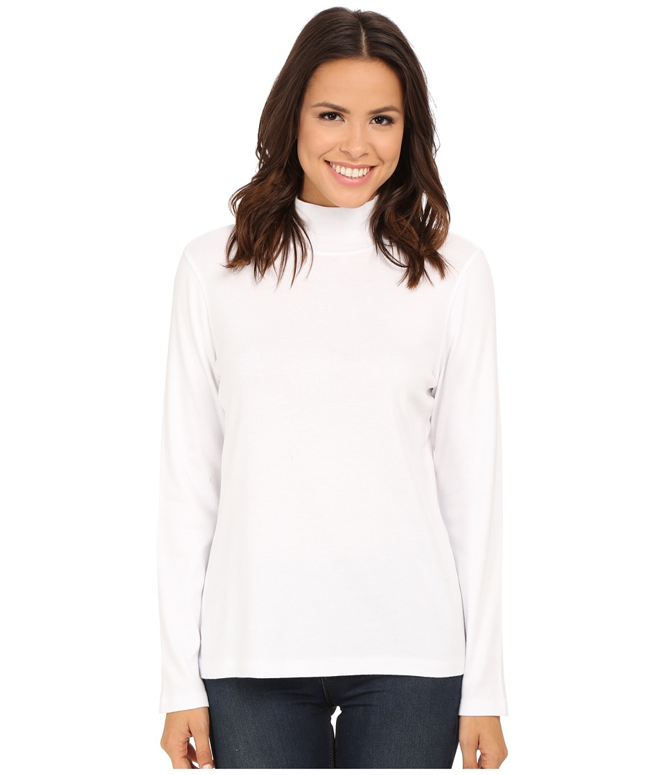 Pendleton - L/S Mock Neck Cotton Rib Tee (White) Women's Long Sleeve Pullover