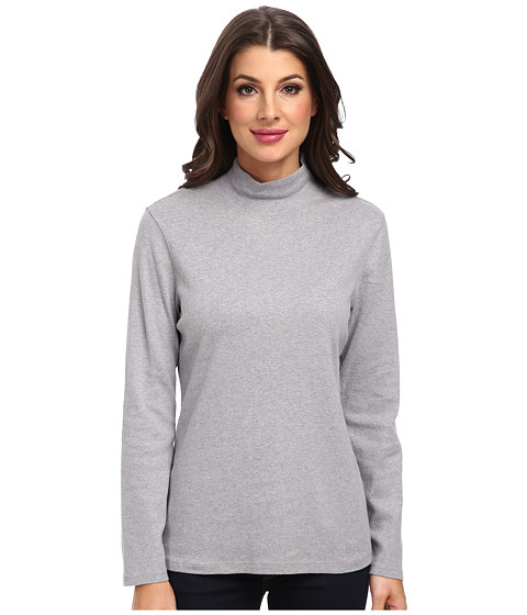 Pendleton - L/S Mock Neck Cotton Rib Tee (Soft Grey Heather) Women's Long Sleeve Pullover