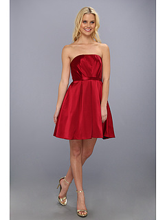 SALE! $199.99 - Save $240 on ABS Allen Schwartz Pleated Bustier Dress w Belted Waist (Crimson) Apparel - 54.55% OFF $440.00