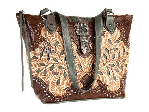 American West - Ponderosa Bucket Tote (Tan Flowers) Tote Handbags