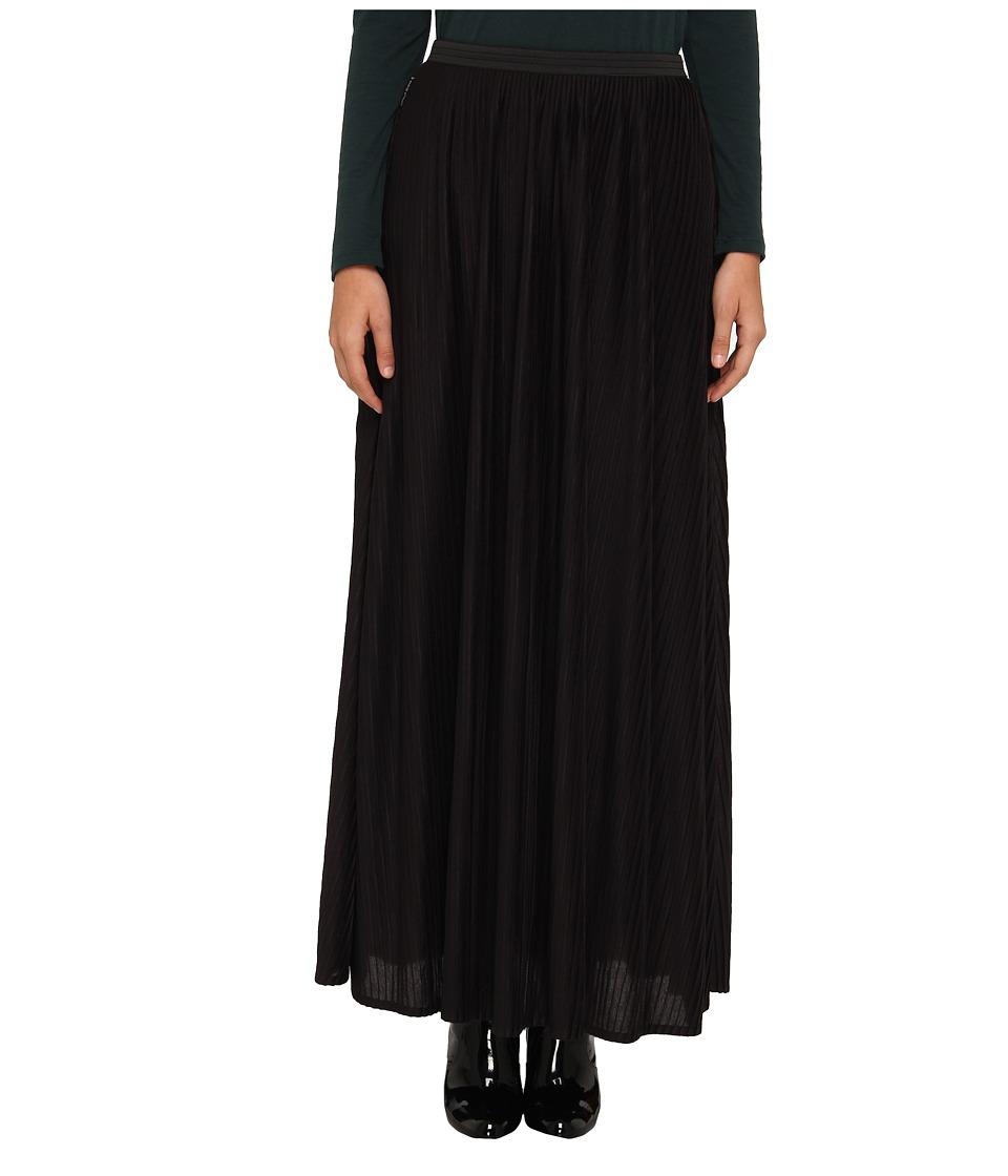 Armani Jeans Long Pleated Skirt Womens Skirt (Black)