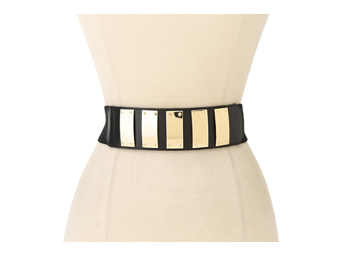 Vince Camuto - Vince Camuto Stretch Linen Panel With Pol Gold Metal Plates W/ Snap Closure (Black) Women's Belts
