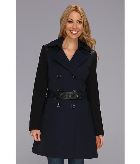 DKNY - Double Breasted Rain Mixed Media Coat (Midnight) Women's Coat