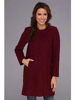SALE! $82.5 - Save $88 on DKNY Collarless Boucle Coat (Wine) Apparel - 51.47% OFF $170.00