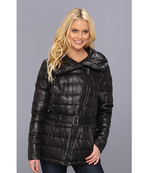 DKNY - Short Down Belted Moto Coat (Black) Women's Coat