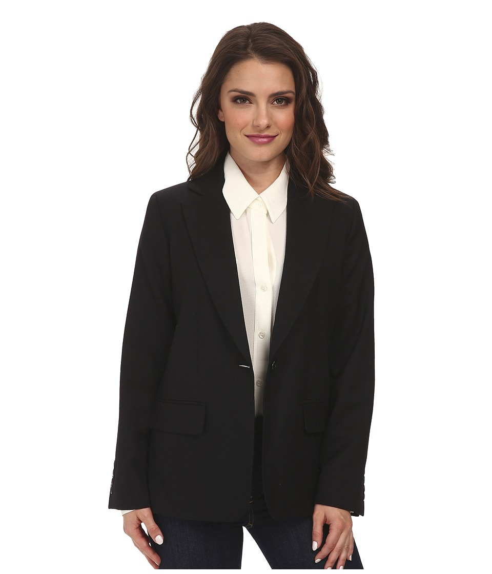 Pendleton - Petite One-Button Blazer (Black Worsted) Women
