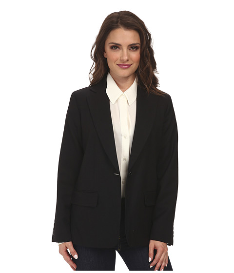 Pendleton - Petite One-Button Blazer (Black Worsted) Women's Jacket