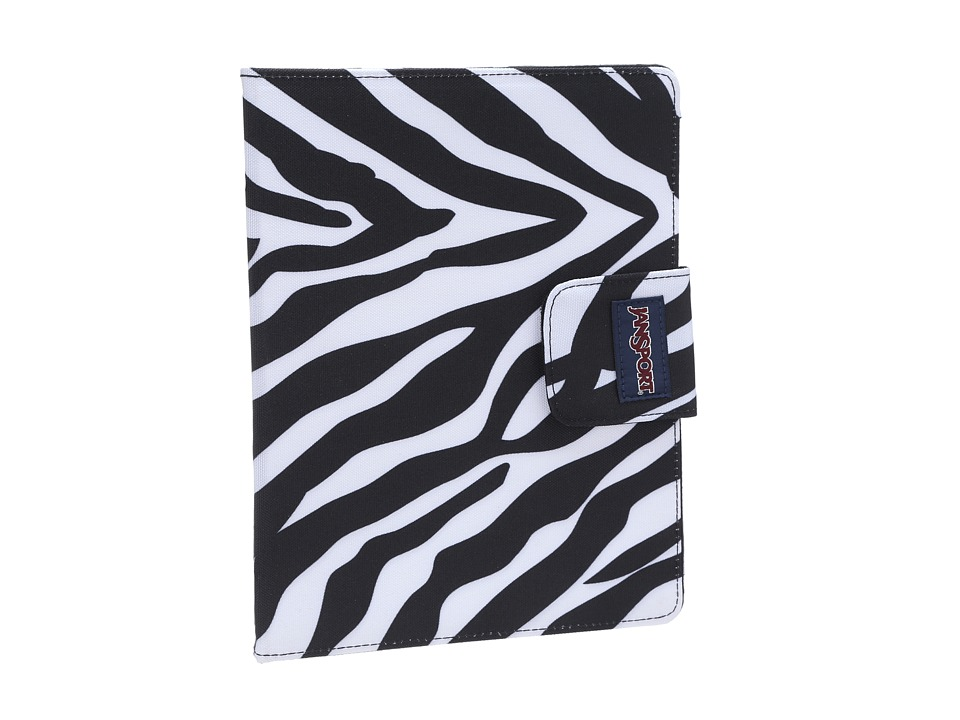 JanSport - 1.0 Folio For iPad (Black/White/Fluorescent Pink Miss Zebra) Computer Bags