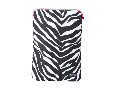 JanSport - 1.0 15 Laptop Sleeve (Black/White/Fluorescent Pink Miss Zebra) Wallet