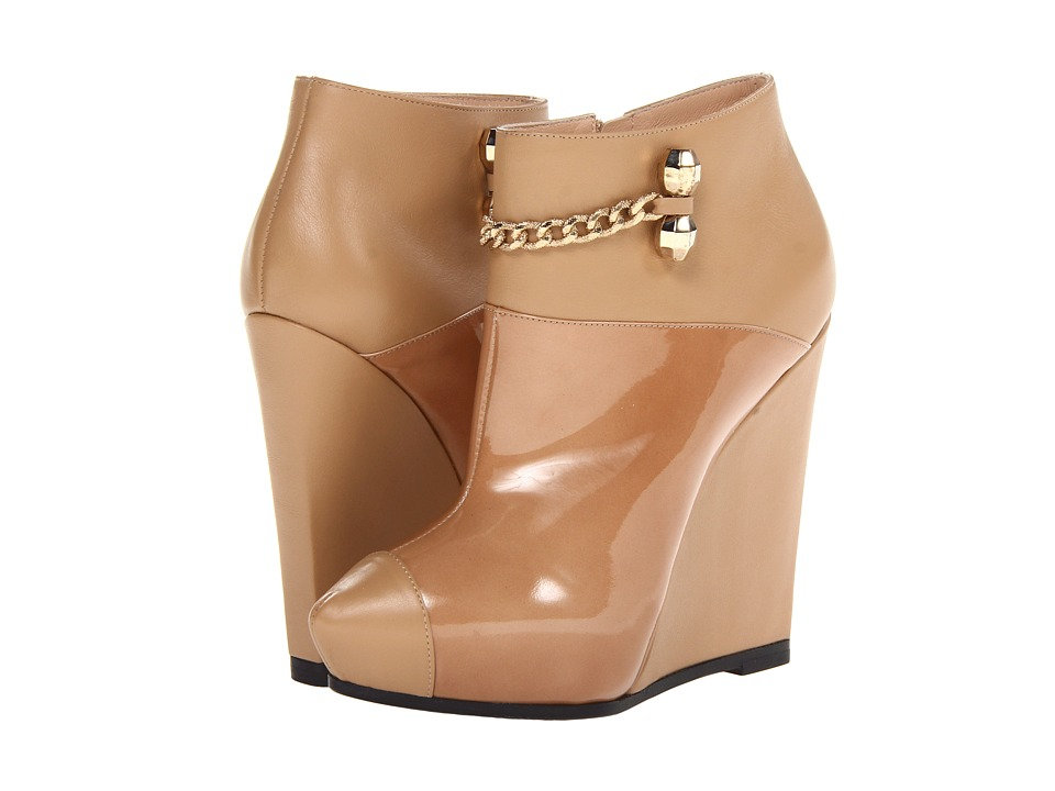 Viktor & Rolf - Patent and Calf Leather Wedge Booties (Flesh) Women's Dress Zip Boots