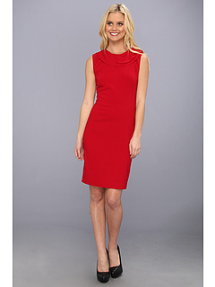 SALE! $116.99 - Save $268 on Nicole Miller Neck Detail Stretch Crepe Dress (Red) Apparel - 69.61% OFF $385.00
