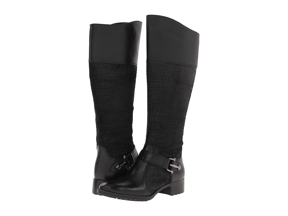Circa Joan & David - Takaraw Wide Shaft (Black Leather/Suede) Women's Zip Boots