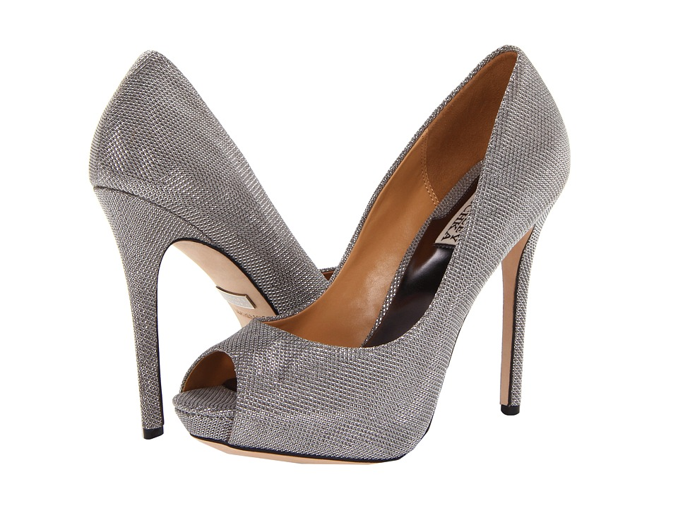 Badgley Mischka - Drama (Pewter Metallic Mesh) High Heels