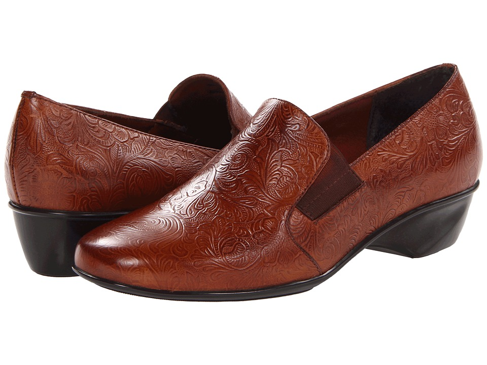 Walking Cradles - Teri (Tan Tooled Leather) Women's Slip on Shoes