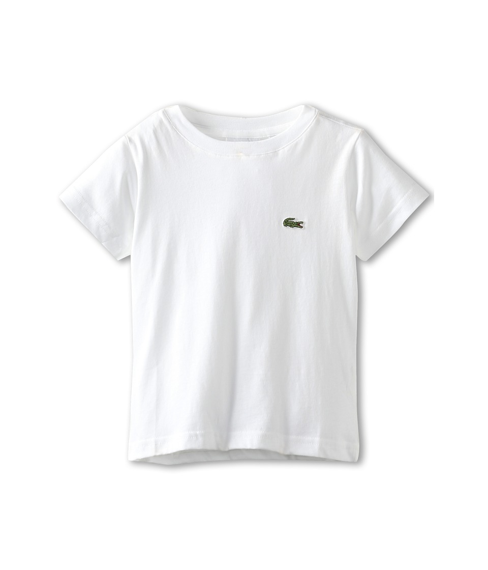 Lacoste Kids - S/S Classic Crewneck Jersey Tee (Toddler/Little Kids/Big Kids) (White) Boy's Short Sleeve Pullover