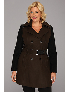 SALE! $101.99 - Save $83 on DKNY Trench w Boiled Wool Sleeve Coat (Military Green) Apparel - 44.87% OFF $185.00