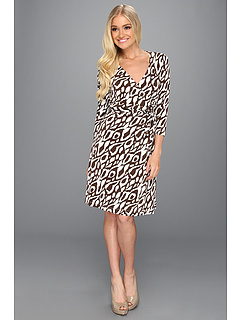 SALE! $39.99 - Save $88 on Tahari by ASL 3 4 Sleeve Wrap Matte Jersey Dress in Print (Brown White) Apparel - 68.76% OFF $128.00